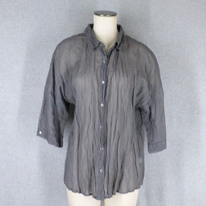 Slate Gray Metallic Cotton Crinkle Top Blouse NEW